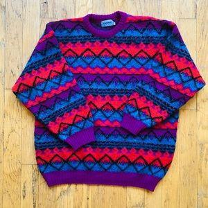 Vintage Highlander MultiColor Abstract Sweater